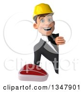 Clipart Of A 3d Young White Male Architect Holding A Beef Steak Around A Sign Royalty Free Vector Illustration
