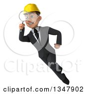 Clipart Of A 3d Young White Male Architect Flying And Searching With A Magnifying Glass Royalty Free Vector Illustration