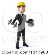 Clipart Of A 3d Young White Male Architect Working Out Facing Slightly Right And Doing Bicep Curls With Dumbbells Royalty Free Vector Illustration