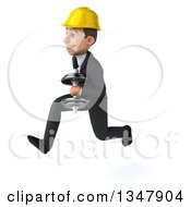 Clipart Of A 3d Young White Male Architect Working Out Sprinting To The Left With Dumbbells Royalty Free Vector Illustration