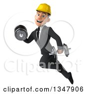 Clipart Of A 3d Young White Male Architect Working Out Flying And Doing Bicep Curls With Dumbbells Royalty Free Vector Illustration