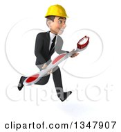 Clipart Of A 3d Young White Male Architect Holding A Giant Toothbrush And Sprinting To The Right Royalty Free Vector Illustration