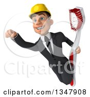 Clipart Of A 3d Young White Male Architect Holding A Giant Toothbrush And Flying Royalty Free Vector Illustration by Julos