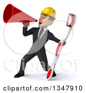 Clipart Of A 3d Young White Male Architect Holding A Giant Toothbrush And Announcing To The Left With A Megaphone Royalty Free Vector Illustration by Julos