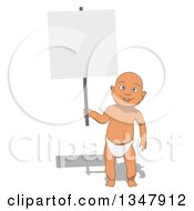 Clipart Of A Cartoon White Baby Boy Holding A Blank Sign Royalty Free Illustration