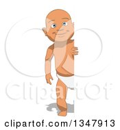 Clipart Of A Cartoon Full Length White Baby Boy By A Sign Royalty Free Illustration