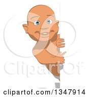 Clipart Of A Cartoon White Baby Boy Pointing Around A Sign Royalty Free Illustration