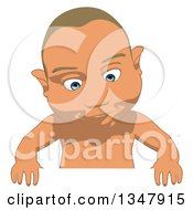 Clipart Of A Cartoon White Baby Boy Looking Down Over A Sign Royalty Free Illustration