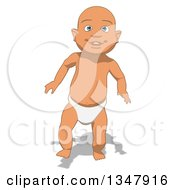Clipart Of A Cartoon White Baby Boy Walking Royalty Free Illustration