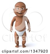 Clipart Of A 3d Black Baby Boy Royalty Free Illustration