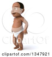 Clipart Of A 3d Black Baby Boy Facing Left Royalty Free Illustration