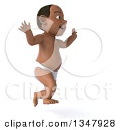 Clipart Of A 3d Black Baby Boy Facing Right And Jumping Royalty Free Illustration by Julos
