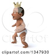 Clipart Of A 3d Black Baby Boy Wearing A Crown And Walking To The Left Royalty Free Illustration