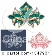 Clipart Of Beautiful Ornate Red White On Blue And Colored Henna Lotus Flowers Royalty Free Vector Illustration