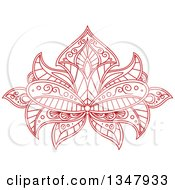 Clipart Of A Beautiful Ornate Red Henna Lotus Flower 2 Royalty Free Vector Illustration