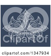 Clipart Of A White Ornate Henna Lotus Flower On Blue 3 Royalty Free Vector Illustration