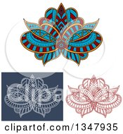 Clipart Of Beautiful Ornate Red White On Blue And Colored Henna Lotus Flowers 2 Royalty Free Vector Illustration