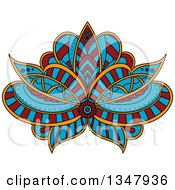 Clipart Of A Beautiful Red Blue And Orange Henna Lotus Flower Royalty Free Vector Illustration