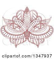 Clipart Of A Beautiful Ornate Red Henna Lotus Flower 3 Royalty Free Vector Illustration