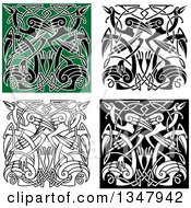 Clipart Of Celtic Knot Crane Or Heron Designs 4 Royalty Free Vector Illustration