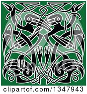 Clipart Of A Black And White Celtic Knot Crane Or Heron Design On Green Royalty Free Vector Illustration