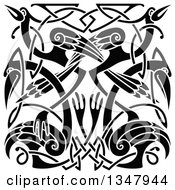 Clipart Of A Black And White Celtic Knot Cranes Or Herons 3 Royalty Free Vector Illustration