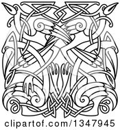 Clipart Of Black And White Lineart Celtic Knot Cranes Or Herons 3 Royalty Free Vector Illustration