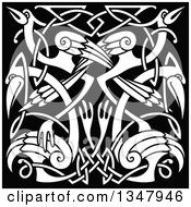 Clipart Of White Celtic Knot Crane Or Herons On Black Royalty Free Vector Illustration