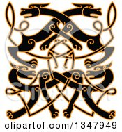 Clipart Of A Black Celtic Wild Dog Knot Outlined In Orange Royalty Free Vector Illustration by Vector Tradition SM