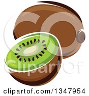 Clipart Of A Cartoon Kiwi Fruit And Half Royalty Free Vector Illustration