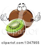 Clipart Of A Cartoon Kiwi Fruit Character Royalty Free Vector Illustration