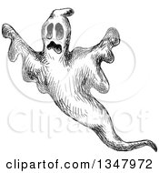Clipart Of A Black And White Sketched Ghost Royalty Free Vector Illustration by Vector Tradition SM