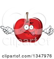 Clipart Of A Cartoon Goofy Red Apple Pointing Royalty Free Vector Illustration