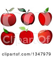 Clipart Of Cartoon Red Apples Royalty Free Vector Illustration