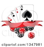 Clipart Of Poker Chips And Playing Cards With A Blank Red Banner Royalty Free Vector Illustration by Seamartini Graphics