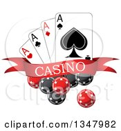 Clipart Of Poker Chips And Playing Cards With A Red Casino Banner Royalty Free Vector Illustration by Vector Tradition SM