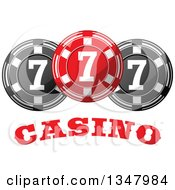 Clipart Of A Red And Black Casino Poker Chips Over Text Royalty Free Vector Illustration by Vector Tradition SM