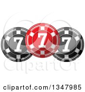Clipart Of A Red And Black Casino Poker Chips Royalty Free Vector Illustration by Vector Tradition SM