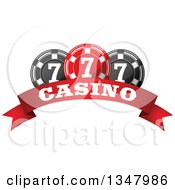 Clipart Of A Red And Black Casino Poker Chips Over A Text Banner Royalty Free Vector Illustration by Vector Tradition SM