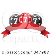Clipart Of A Red And Black Casino Poker Chips Over A Blank Banner Royalty Free Vector Illustration by Vector Tradition SM