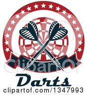 Clipart Of Crossed Darts Over A Red And White Target In A Circle Of Stars With A Banner Over Text Royalty Free Vector Illustration