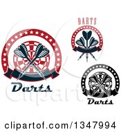 Clipart Of Crossed Darts And Targets With Stars And Banners Royalty Free Vector Illustration