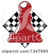 Clipart Of A Red Chess Pawn Over A Diamond Checker Board Royalty Free Vector Illustration