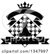 Clipart Of A Black And White Chess Pawn Over A Diamond Checker Board With A Crown And Blank Banners Royalty Free Vector Illustration