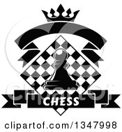 Clipart Of A Black And White Chess Pawn Over A Diamond Checker Board With A Crown And Banners Royalty Free Vector Illustration