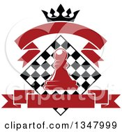 Clipart Of A Red Chess Pawn Over A Black And White Diamond Board With A Crown And Blank Banners Royalty Free Vector Illustration by Vector Tradition SM