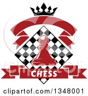 Clipart Of A Red Chess Pawn Over A Black And White Diamond Board With A Crown And Banners Royalty Free Vector Illustration
