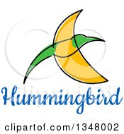 Clipart Of A Sketched Green And Yellow Hummingbird And Text 3 Royalty Free Vector Illustration