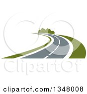 Clipart Of A Two Lane Highway Road Curving Royalty Free Vector Illustration