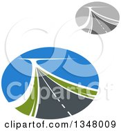 Clipart Of Two Lane Highway Roads In Ovals Royalty Free Vector Illustration